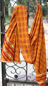 Haldi chandan bagh printed dupatta with the embellishment of lace