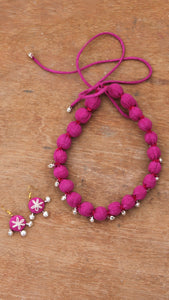 Pink textile necklace set online available at bebaakstudio.com
