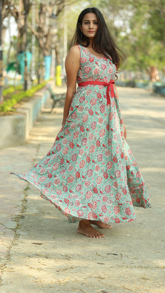 Floral ocean green flare dress online at bebaakstudio.com