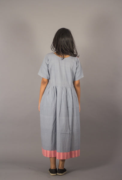 GREY HANDWOVEN COTTON COLOR BLOCK CASUAL LONG DRESS