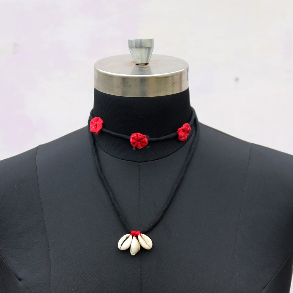 Red floral double layered choker