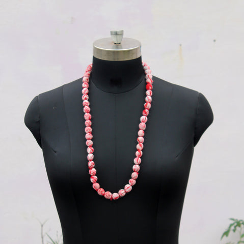 Pink beads long necklace