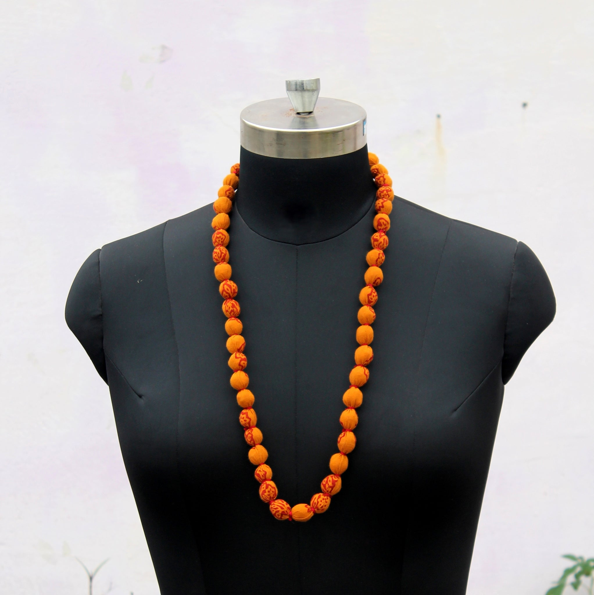 Mustard beads long necklace