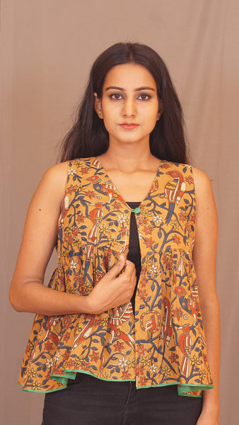 Kalamkari Heena frilled Shrug by bebaak