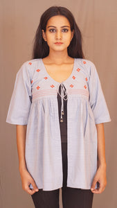 Grey hand embroidered cotton half wing shrug