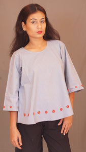 Grey palate flare embroidered top