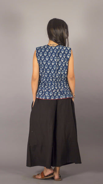 Indigo block print cotton casual short top