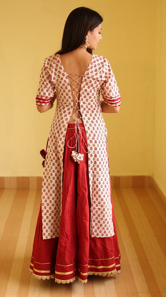 Mogra bhag printed criss cross kurti online at bebaakstudio
