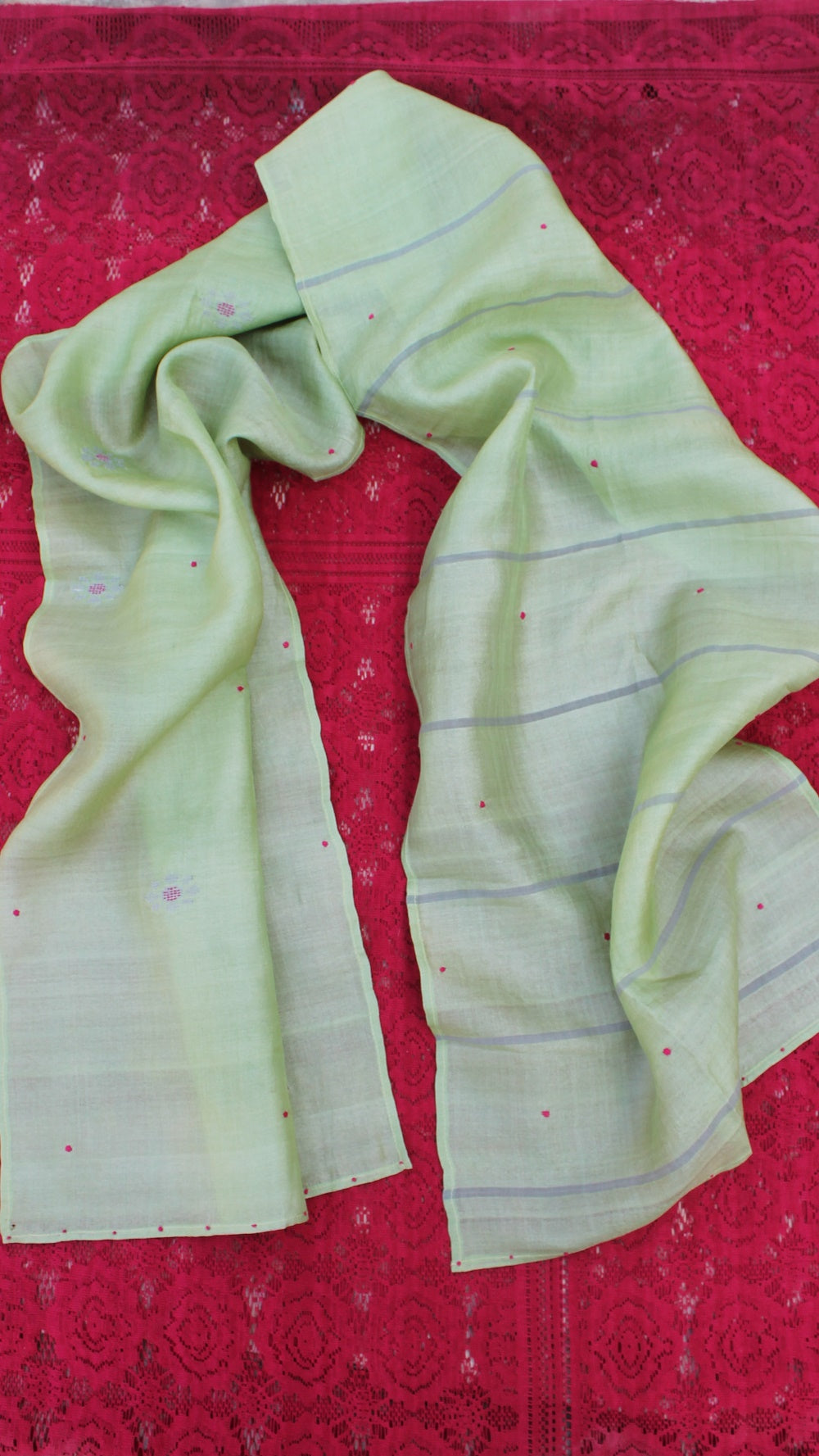 Pistachio polka hand embroidered silk stole