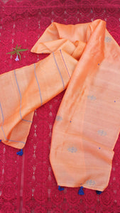 Tangerine polka hand embroidered silk stole
