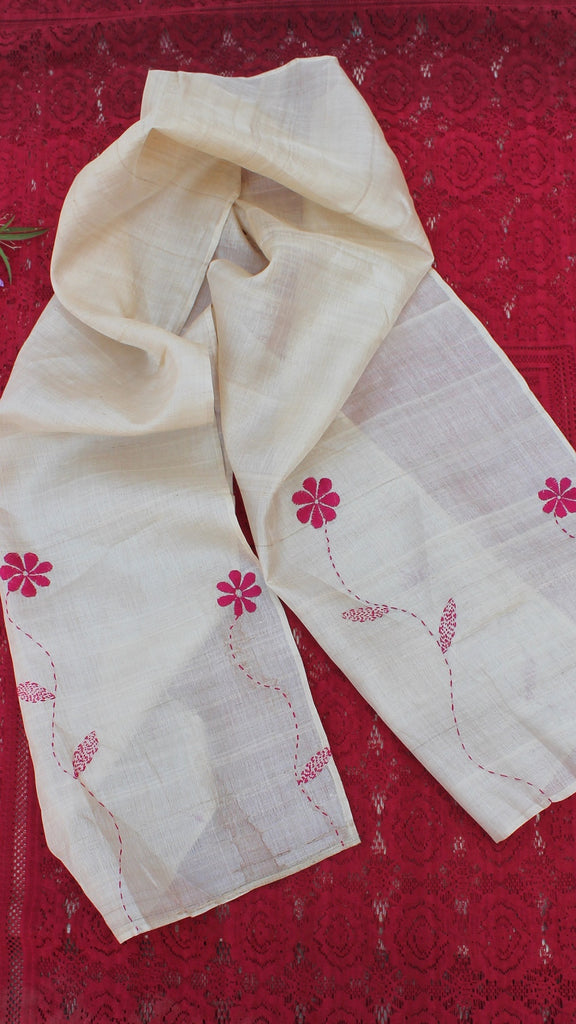 Ivory flora hand embroidered silk stole