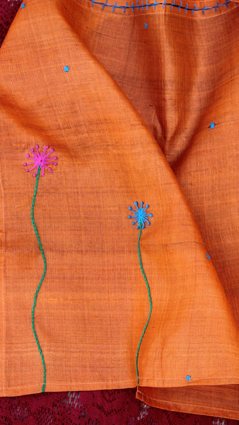 Orange floral path hand embroidered silk stole