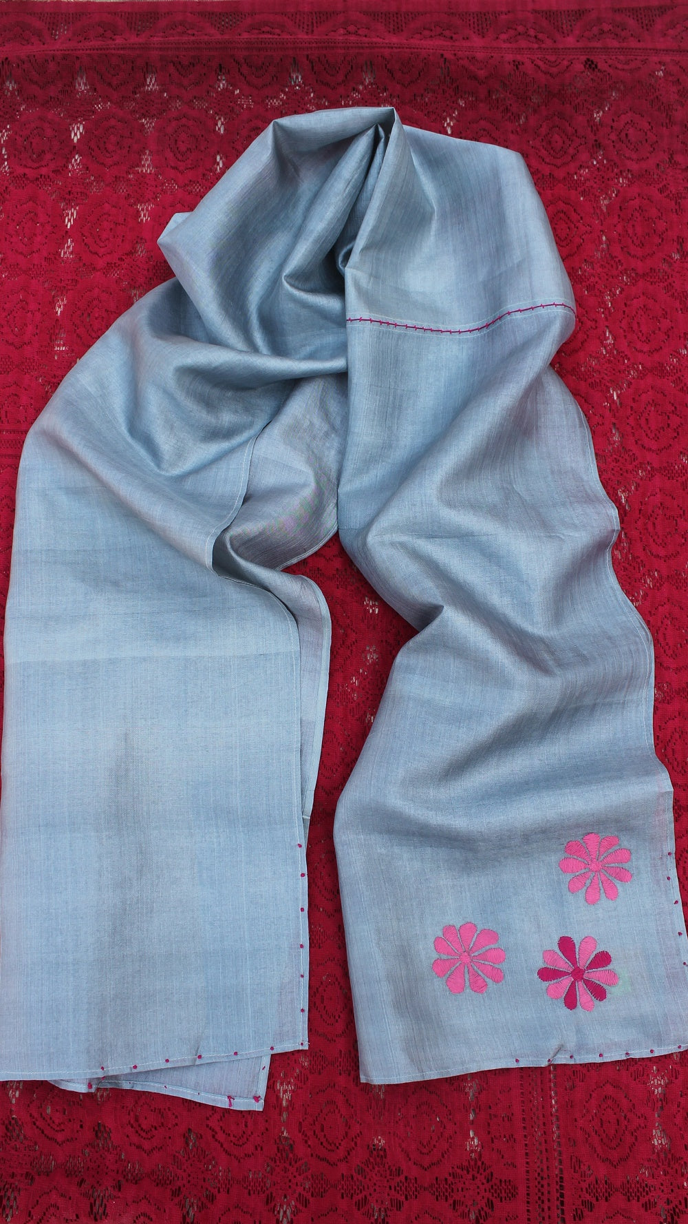 Grey floral hand embroidered silk stole