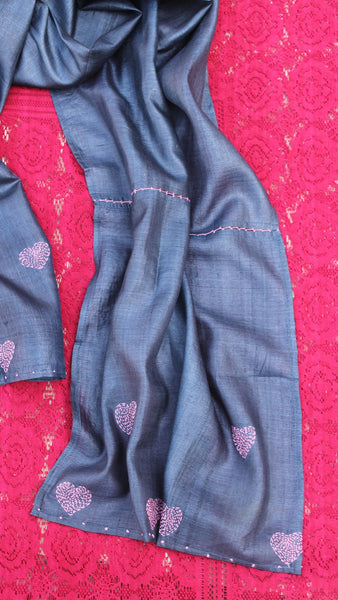 Navy blue heart kantha silk stole