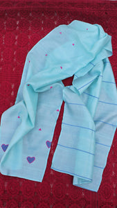 Sea blue heart patchwork silk stole