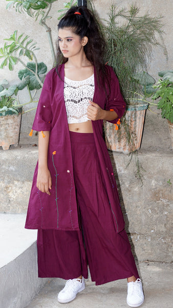 Maroon Pleated Cotton Palazzo online at bebaakstudio