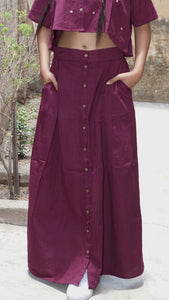 Maroon button down log skirt online at bebaakstudio.com