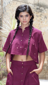 Maroon embroidered crop shirt online at bebaakstudio