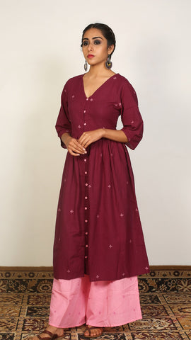 Maroon Gathered Kurta