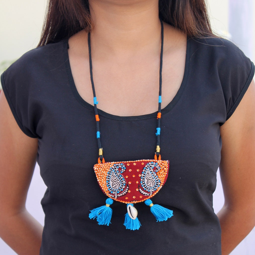 Mastani Mehroon tassel necklace
