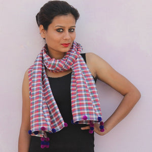 Pink checks handwoven cotton gamchha stole