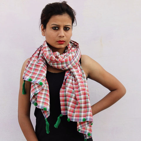 Peach checks handwoven cotton gamchha stole