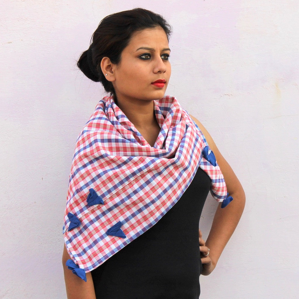 Pink checks handwoven cotton gamchha scarf