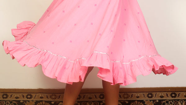 Pink flared short dress