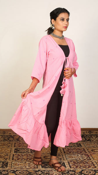 Pink frill long shrug