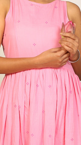 Pink gathered long dress