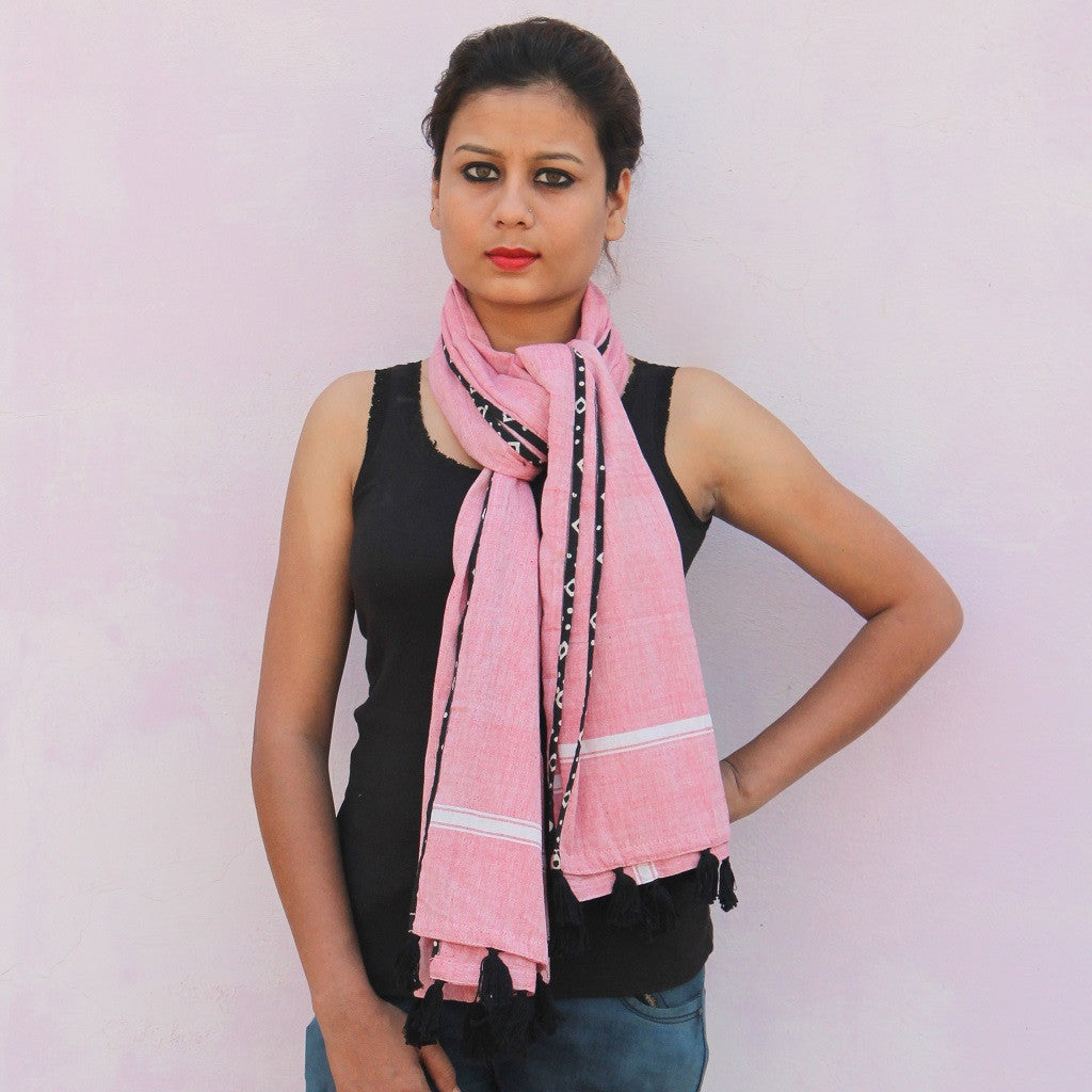 Pink handwoven cotton gamchha stole