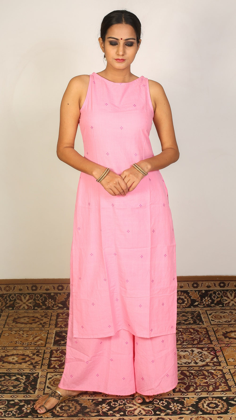 Pink straight fit kurta