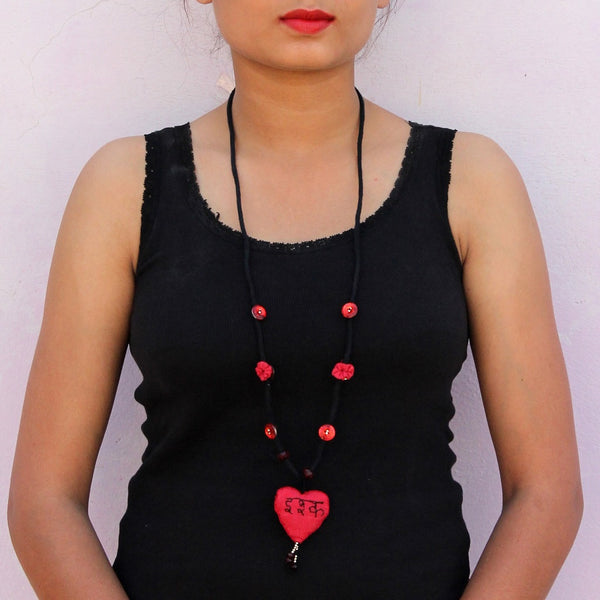 Up-cycled textile heart pendant necklace( iSHQ)