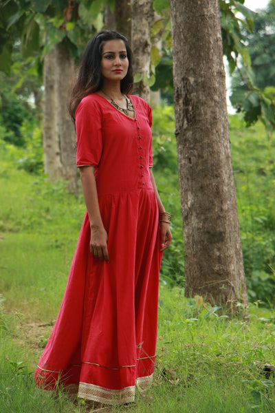Red handwoven cotton flared long dress