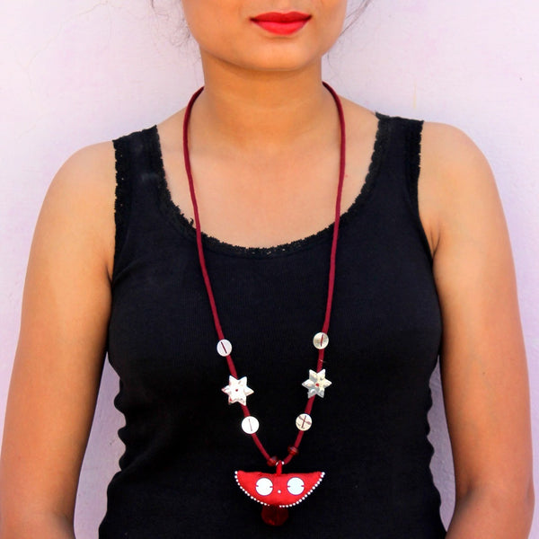 Retro up-cycled textile pendant necklace by bebaak
