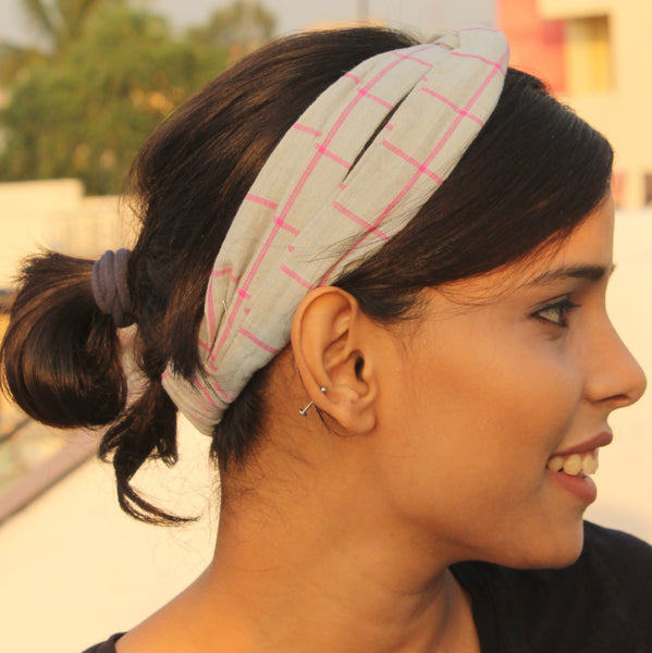 Grey & pink check headband online at bebaakstudio.com