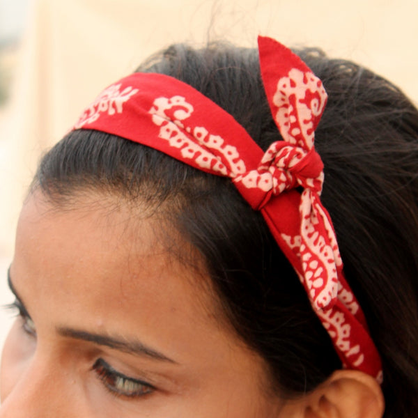 Maroon bagh print knotted bow headband