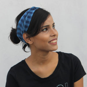 Blue checks headband online at bebaakstudio.com