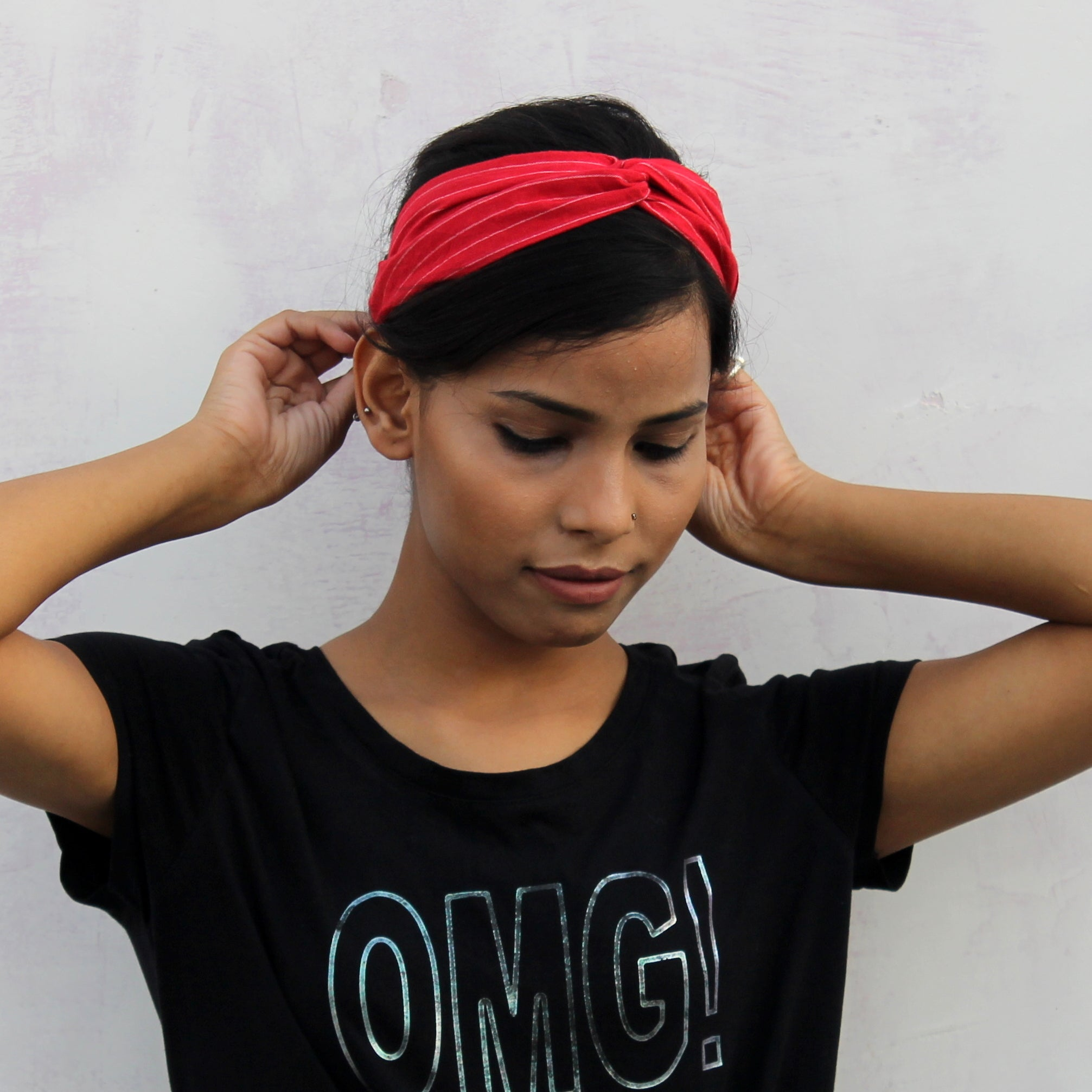 Red crossover headband online at bebaakstudio.com