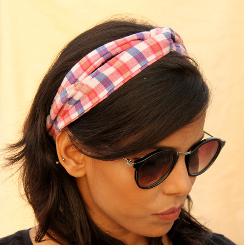Multi color check headband online at bebaakstudio.com