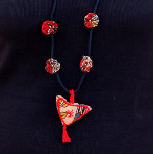 Boho bird up-cycled textile pendant necklace by bebaak