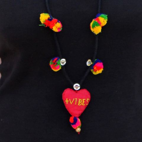 Up-cycled textile Heart pendant necklace( positive vibes)