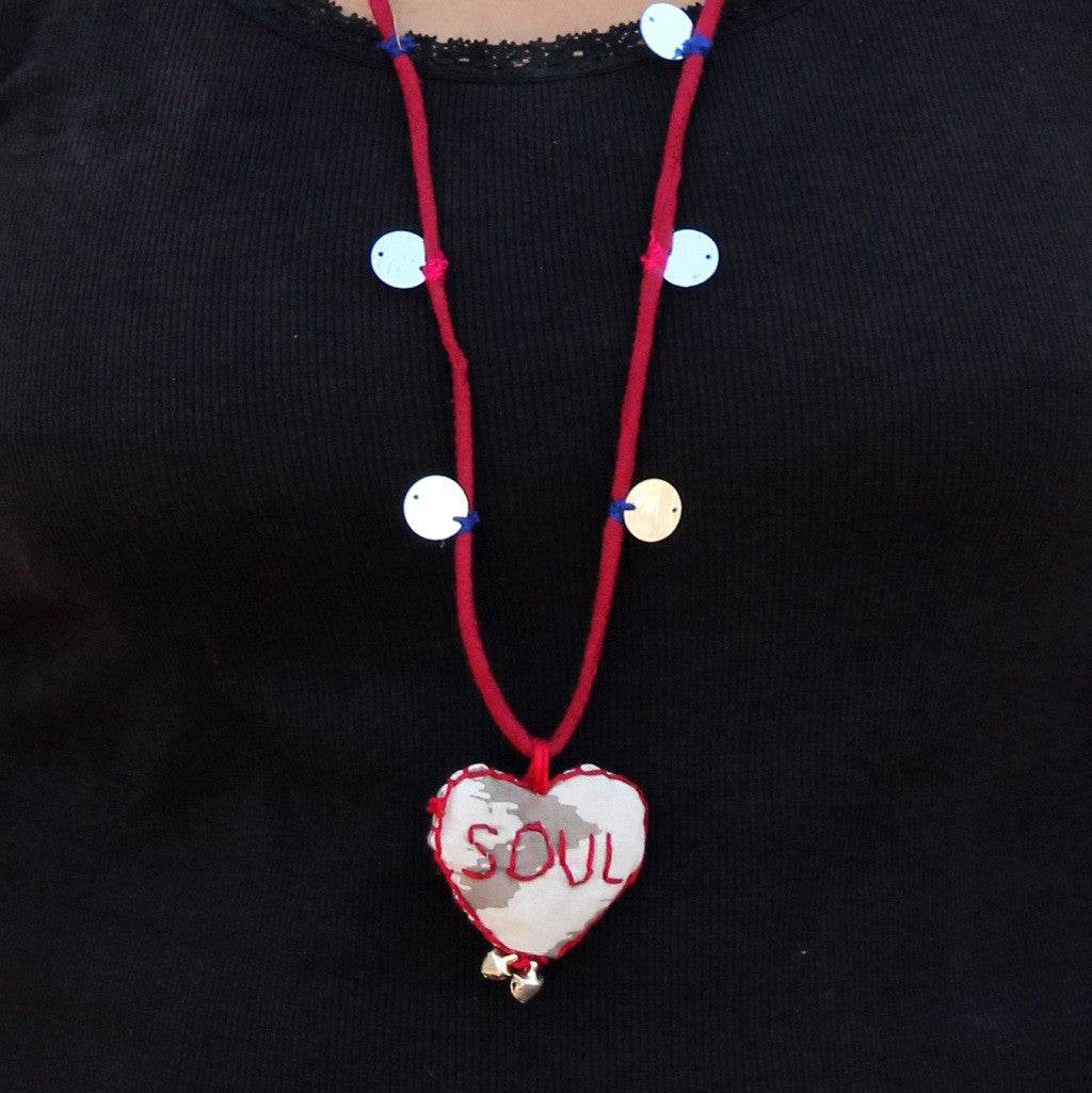 Up-cycled textile heart pendant necklace( Soul) by bebaak