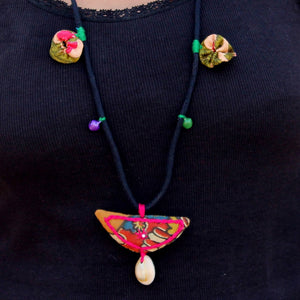 Up-cycled textile rainbow floral pendant necklace by bebaak