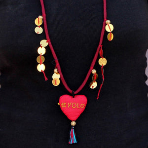 Up-cycled textile heart pendant necklace( #YOLO)