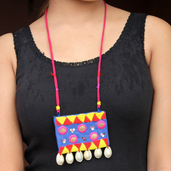 Mastani blue shell necklace online at bebaakstudio.com