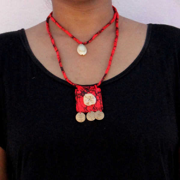 Red floral double layer choker online at bebaakstudio