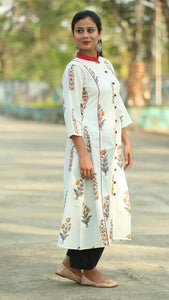 Mughal Print off white stand collar kurta online at bebaakstudio.com
