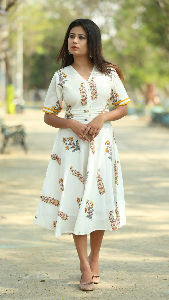 Mughal print off white flare dress online at bebaakstudio.com