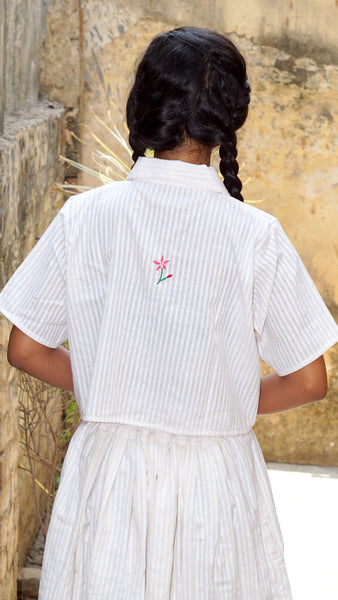 White embroidered crop shirt online at bebaakstudio